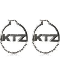 KTZ - Logo & Chain Hoop Earrings - Lyst