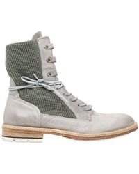 A.s.98 - Military Cotton & Washed Leather Boots - Lyst