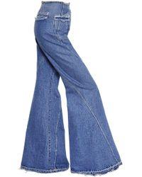 Esteban Cortazar - High Waist Flared Cotton Denim Jeans - Lyst