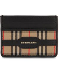 Burberry - Checked Cotton & Leather Card Holder - Lyst