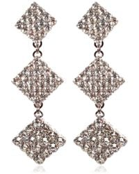 Alessandra Rich - Crystal Long Square Clip-on Earrings - Lyst
