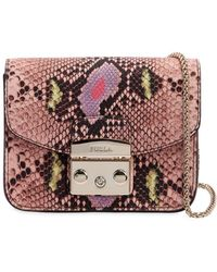 Furla - Mini Metropolis Snake Print Leather Bag - Lyst
