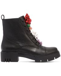 Katy Perry - 50mm Bliss Flower Leather Combat Boots - Lyst