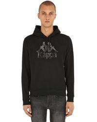 Kappa Logo Printed Cotton Sweatshirt Hoodie - Black