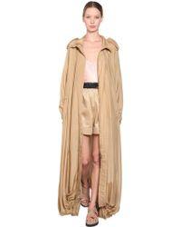 Alberta Ferretti - Long Silk Twill Trench Coat - Lyst