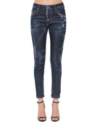 DSquared² - Dark Wash Cotton Denim Skinny Jeans - Lyst