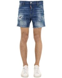 DSquared² - Square Crotch Cotton Denim Shorts - Lyst