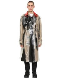 Maison Margiela - Printed Pvc Double Breasted Trench Coat - Lyst