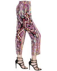Etro - Printed Silk Crepe De Chine Pants - Lyst
