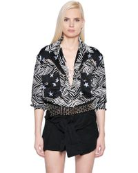 Faith Connexion - Star & Zebra Printed Silk Bodysuit - Lyst