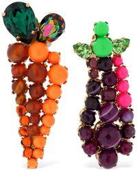 Bijoux De Famille Eggplant & Carrot Mismatched Earrings