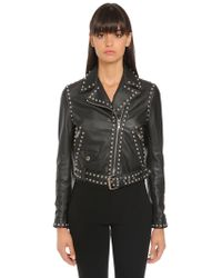 Moschino - Studded Logo Leather Biker Jacket - Lyst