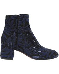 Agl Attilio Giusti Leombruni - 50mm Sequined Lace & Suede Ankle Boots - Lyst