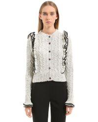 Philosophy Di Lorenzo Serafini - Ruffled Tweed Yarn Cable Knit Cardigan - Lyst