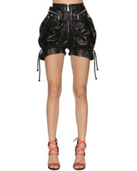 DSquared² High Waist Leather Military Shorts