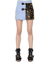 Fausto Puglisi - Embellished Leather & Cotton Denim Skirt - Lyst