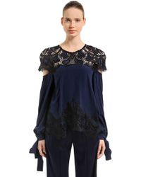 Jonathan Simkhai - Flared Crepe & Lace Long Sleeve Top - Lyst