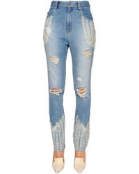 Jonathan Simkhai - Skinny Embellished Ripped Denim Jeans - Lyst