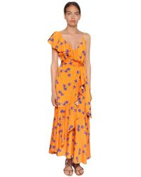 Borgo De Nor - Orchid Printed Draped Crepe Dress - Lyst