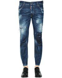 DSquared² - 17cm Tidy Biker Destroyed Denim Jeans - Lyst