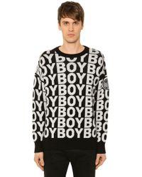 BOY London - Logo Jacquard Wool Blend Knit Sweater - Lyst 612a7161d4bf