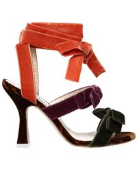 Attico - 80mm Diletta Velvet Sandals W/ Bows - Lyst