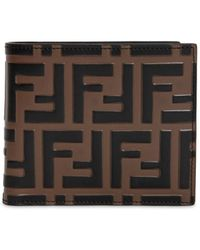 Fendi - Ff Embossed Leather Classic Wallet - Lyst