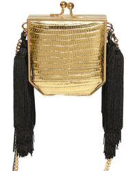Alessandra Rich - Mini Lizard & Leather Shoulder Bag - Lyst