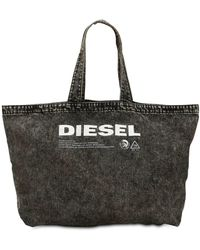 DIESEL - Logo Printed Washed Denim Tote Bag - Lyst
