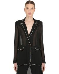 Marco De Vincenzo - Embellished Georgette Blazer Jacket - Lyst