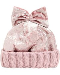 Federica Moretti - Velvet & Wool Knit Beanie Hat W/ Bow - Lyst