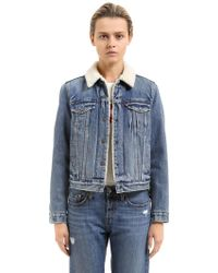 Levi's - Faux Shearling & Cotton Denim Jacket - Lyst