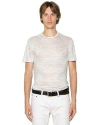 John Varvatos - Striped Linen Jersey T-shirt - Lyst