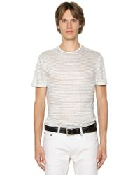 John Varvatos - Striped Linen Jersey T-shirt - Lyst