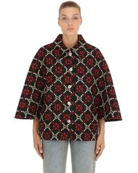 Gucci - Gg Supreme Wool Knit Cape - Lyst