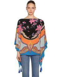 Etro - Printed Silk Satin Poncho - Lyst