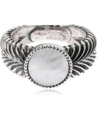 Emanuele Bicocchi - Slim Herringbone Mother Of Pearl Ring - Lyst