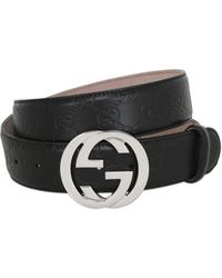 Gucci - 40mm Gg Signature Embossed Leather Belt - Lyst