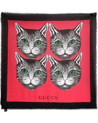 Gucci - Guccy Cats Printed Shawl - Lyst