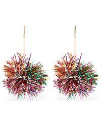Tuleste - Lurex Pom Pom Drop Earrings - Lyst
