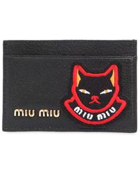 Miu Miu PORTE-CARTES EN CUIR AVEC PATCH CHAT