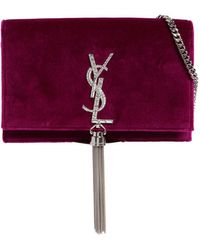 Saint Laurent - Kate Monogram Crystals Velvet Bag - Lyst
