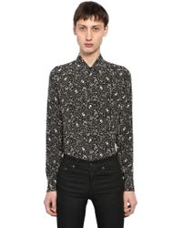 Saint Laurent - Yves Skull Printed Silk Shirt - Lyst
