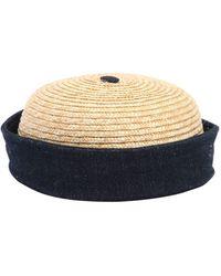 Beton Cire - Handmade Straw & Cotton Denim Sailor Hat - Lyst