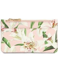 Dolce & Gabbana - Mini Lily Print Leather Card Case - Lyst