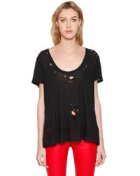 Unravel - Distressed Cotton Jersey Basic T-shirt - Lyst