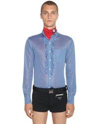 Prada - Jerseyhemd Mit Rüschen - Lyst