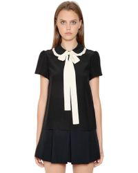 RED Valentino   Bow Collar Silk Crepe De Chine Blouse   Lyst