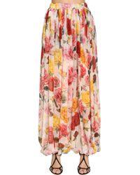Dolce & Gabbana | Roses Print Pleated Silk Chiffon Trousers | Lyst