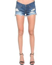 Rag & Bone - Raw Hem Destroyed Denim Shorts - Lyst